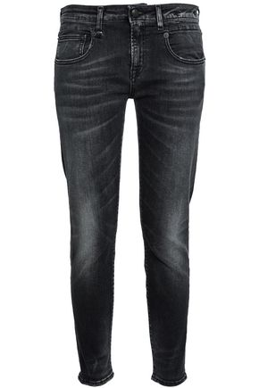 R13 Faded low-rise slim-leg jeans