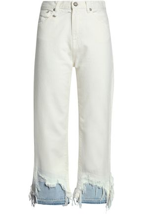 Paneled Distressed High Rise Straight Leg Jeans by R13