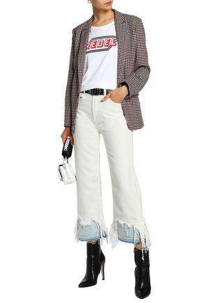 R13 Paneled distressed high-rise straight-leg jeans