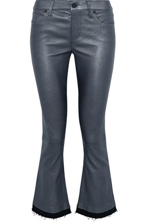 RTA Kiki denim-trimmed metallic leather kick-flare pants
