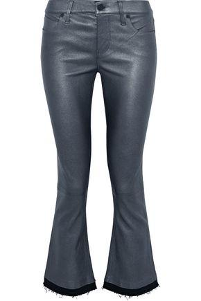 RTA Kiki denim-trimmed metallic leather kick-flare pants