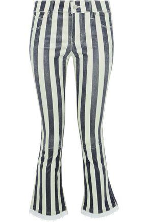 RTA Kiki denim-trimmed striped leather kick-flare pants