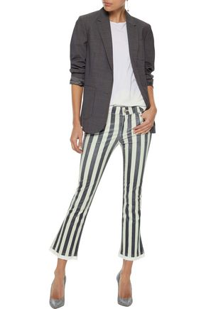 RTA Kiki denim-trimmed striped leather kick-flare pants