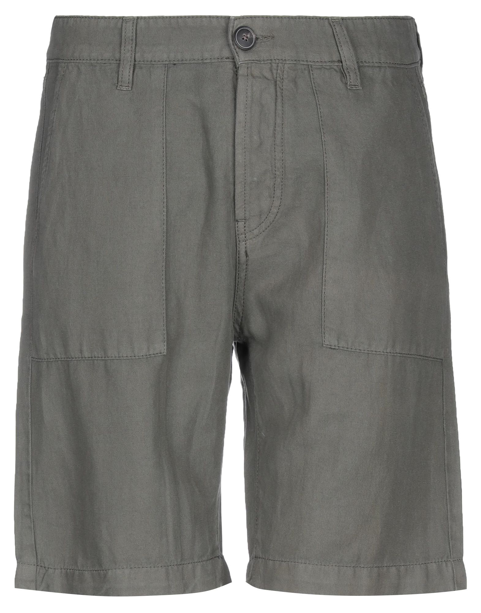 ELEVENTY Bermudas. twill, leather applications, logo, solid color, high waisted, regular fit, button closing, multipockets, contains non-textile parts of animal origin, pants. 58% Linen, 42% Cotton