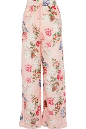 NICHOLAS Floral-print cotton and silk-blend wide-leg pants