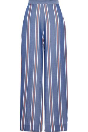 NICHOLAS Striped Tencel-chambray wide-leg pants