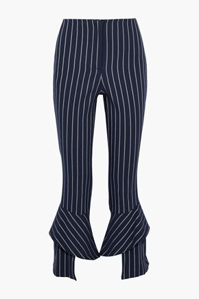 NICHOLAS Ruffled striped twill slim-leg pants