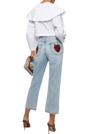 DOLCE & GABBANA Embellished distressed mid-rise straight-leg jeans