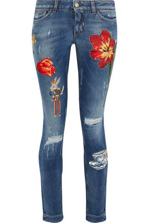 DOLCE & GABBANA Appliquéd distressed low-rise skinny jeans