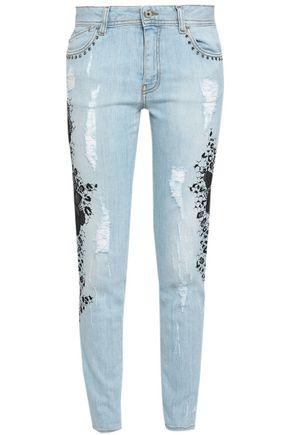 JUST CAVALLI Distressed embellished mid-rise skinny jeans