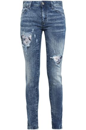 JUST CAVALLI Distressed printed high-rise skinny jeans