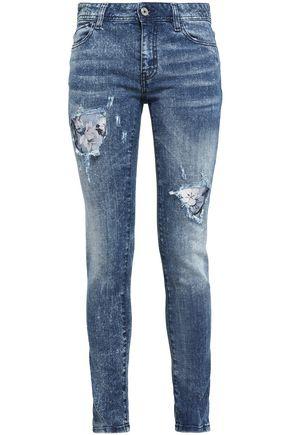 JUST CAVALLI Distressed printed high-rise skinny jeans 0b2861d06