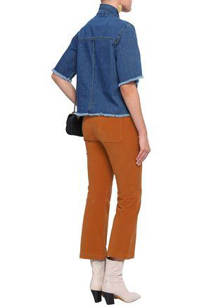 SEE BY CHLOÉ Twill-trimmed stretch-cotton velvet kick-flare pants