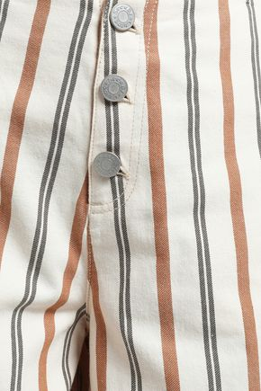SEE BY CHLOÉ Striped cotton-canvas culottes