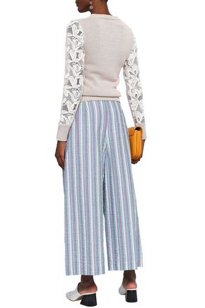 SEE BY CHLOÉ Button-detailed cotton-blend seersucker culottes