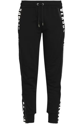 VERSUS VERSACE Printed French cotton-terry track pants