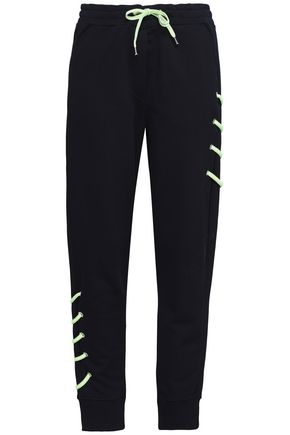 VERSUS VERSACE Lace-up French cotton-terry track pants