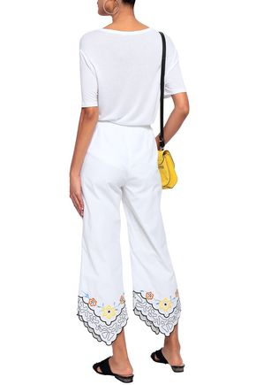 SEE BY CHLOÉ Cropped embroidered cotton-poplin straight-leg pants