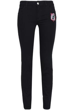 VERSUS VERSACE Appliquéd mid-rise skinny jeans
