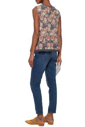 CURRENT/ELLIOTT Distressed mid-rise slim-leg jeans