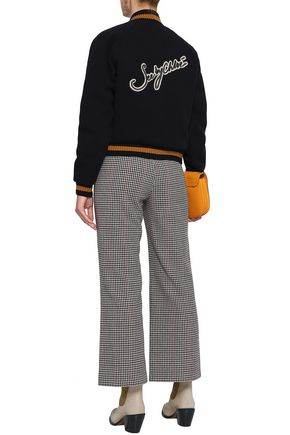 SEE BY CHLOÉ Houndstooth wool-blend kick-flare pants