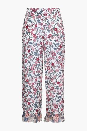 SEE BY CHLOÉ Ruffle-trimmed floral-print crepe de chine wide-leg pants