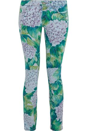 DOLCE & GABBANA Floral-print low-rise skinny jeans
