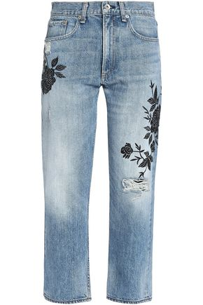 RAG & BONE Distressed embroidered mid-rise straight-leg jeans