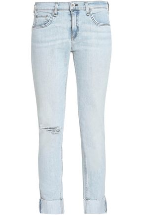 RAG & BONE Distressed faded mid-rise slim-leg jeans