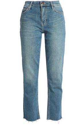 CURRENT/ELLIOTT Joey cropped high-rise straight-leg jeans