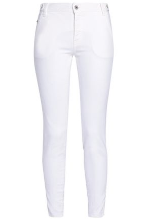 JUST CAVALLI Embroidered mid-rise skinny jeans