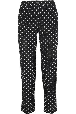 DOLCE & GABBANA Cropped polka-dot silk-blend slim-leg pants