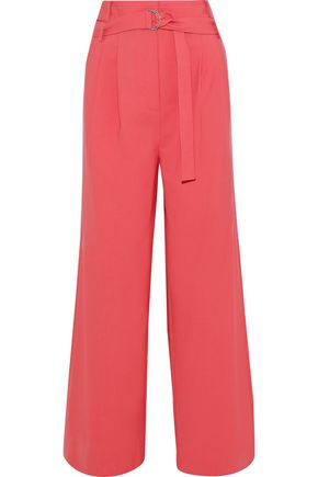 TIBI Stella belted woven wide-leg pants