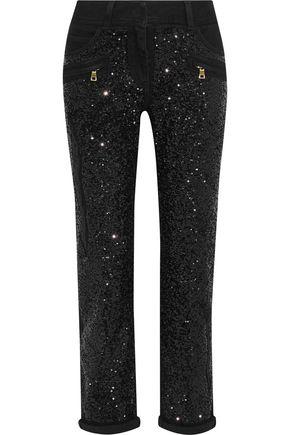 BALMAIN Sequined mid-rise slim-leg jeans