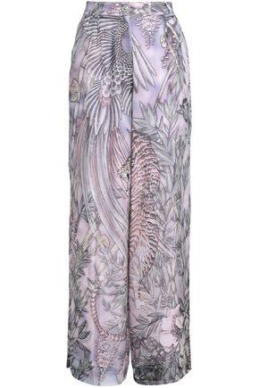 JUST CAVALLI Printed silk wide-leg pants