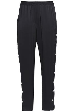 JUST CAVALLI Button-embellished satin tapered pants