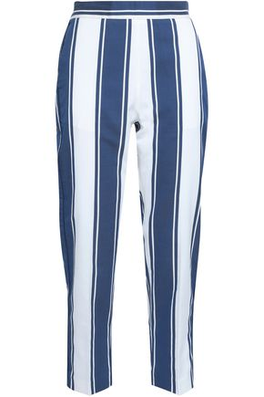 PIAZZA SEMPIONE Striped cotton and silk-blend straight-leg pants