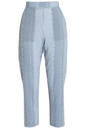 PIAZZA SEMPIONE Hilary cropped checked woven straight-leg pants