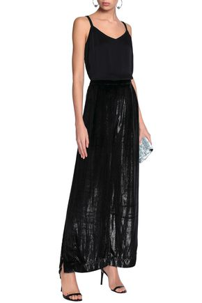 MICHAEL LO SORDO Metallic velvet wide-leg pants