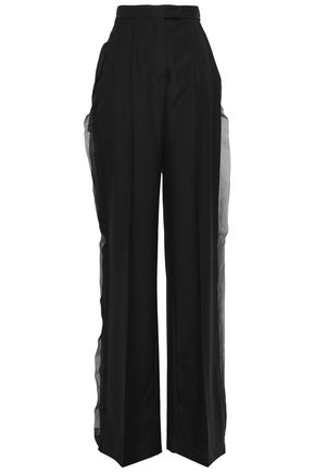 ANTONIO BERARDI Organza-paneled wool wide-leg pants