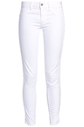 JUST CAVALLI Lace-trimmed low-rise skinny jeans