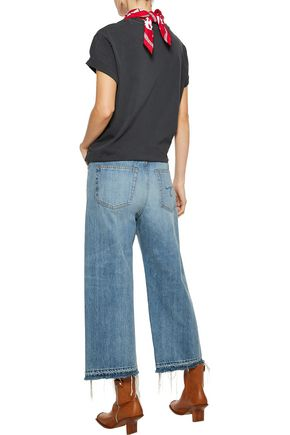 R13 Sina cropped distressed high-rise wide-leg jeans