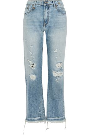 R13 Wilton distressed high-rise straight-leg jeans