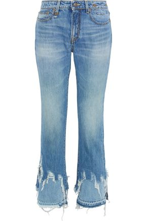 9cf0cb02a R13 Distressed mid-rise straight-leg jeans