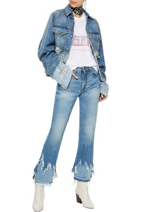 R13 Distressed mid-rise straight-leg jeans