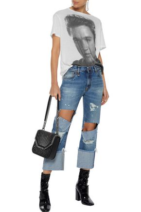 R13 Bowie cropped distressed high-rise straight-leg jeans