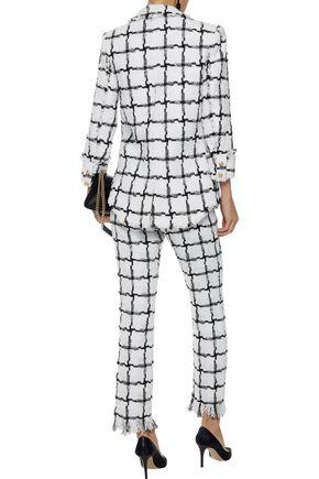 BALMAIN Checked bouclé-tweed straight-leg pants