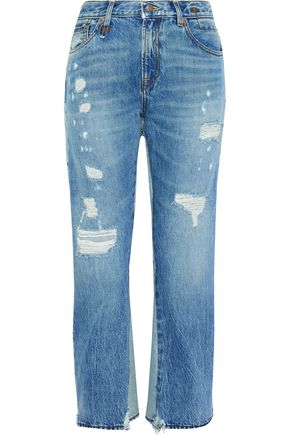 R13 Keaton layered distressed high-rise kick-flare jeans
