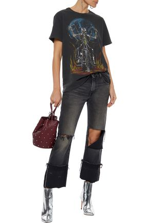 R13 Cropped distressed mid-rise straight-leg jeans