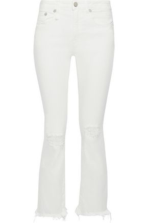 R13 Distressed mid-rise bootcut jeans